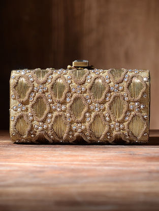 Golden Silk Clutch with Zari