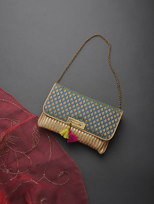 Golden-Blue Handcrafted Cane and Brocade Clutch with Tassels