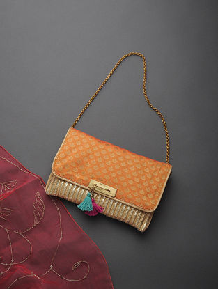 Golden-Peach Handcrafted Cane and Brocade Clutch with Tassels