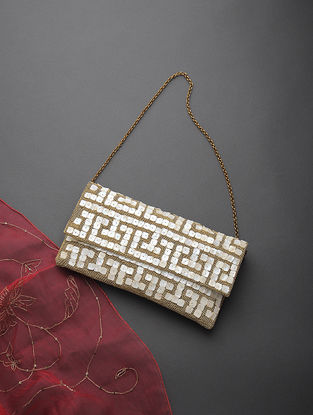 Golden Handcrafted Clutch with Mother of Pearl and Zari Embellishments
