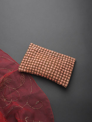 Golden Handcrafted Net and Silk Clutch with Zari and Beads Embellishments