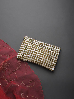 Golden-Ivory Handcrafted Net and Silk Clutch with Zari and Beads Embellishments