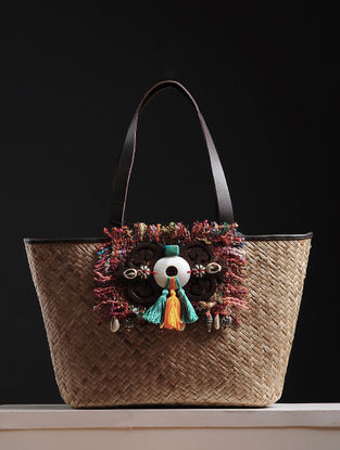 Gold Handcrafted Cane and Silk Tweed Tote with Metal Embellishments
