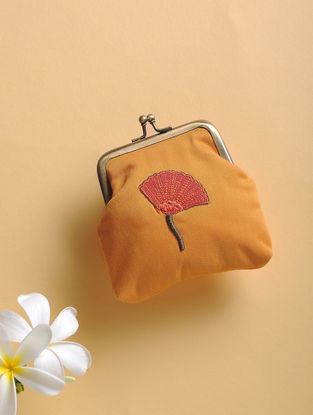 Mustard Quilted Thread-Embroidered Cotton Silk Coin Purse