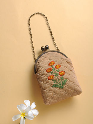 Beige Quilted Thread-Embroidered Cotton Silk Sling Bag