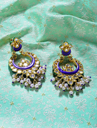 Blue-Red Enameled Polki Gold Earrings with Pearls