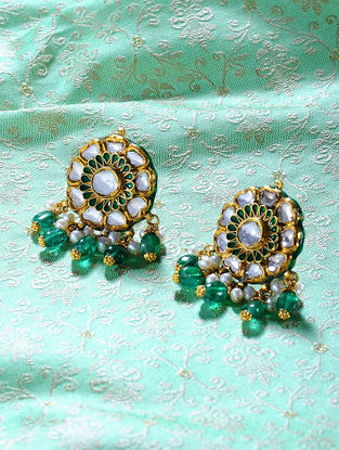 Emerald and Pearl Enameled Polki Gold Earrings