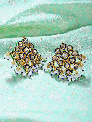 Red-Green Enameled Polki Gold Earrings with Pearls