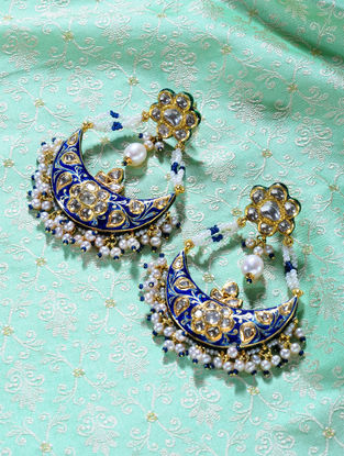 Green-Blue Enameled Polki Gold Earrings with Pearls