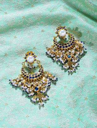 Blue Sapphire and Pearl Polki Gold Earrings