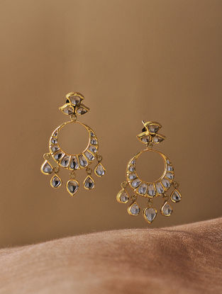 Blue Enameled Diamond Polki Gold Earrings
