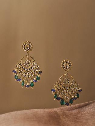 Emerald and Tanzanite Diamond Polki Gold Earrings with Pearls