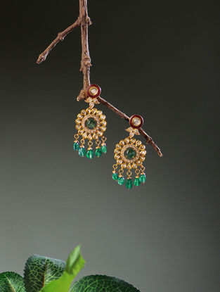 Red Enameled Diamond Polki Gold Earrings with Emerald