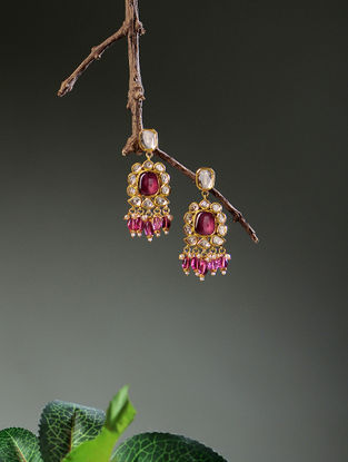 Blue Enameled Diamond Polki Gold Earrings with Ruby