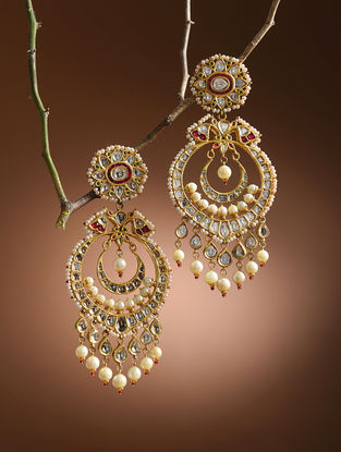 Multicolored Enameled Diamond Polki Gold Earrings with South Sea Pearls