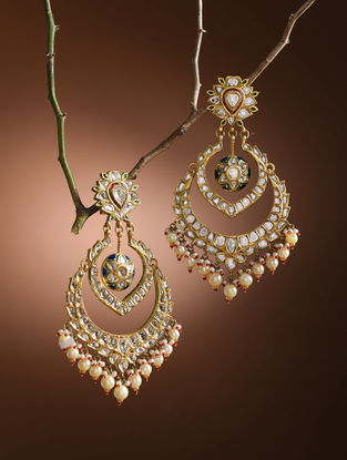 Red-Green Enameled Diamond Polki Gold Earrings with South Sea Pearls