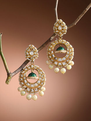Blue-Green Enameled Diamond Polki Gold Earrings with Pearls