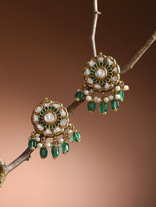 Red-Green Enameled Diamond Polki Gold Earrings with Emerald