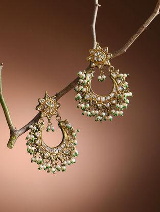 Green Diamond Polki Gold Earrings with Pearls