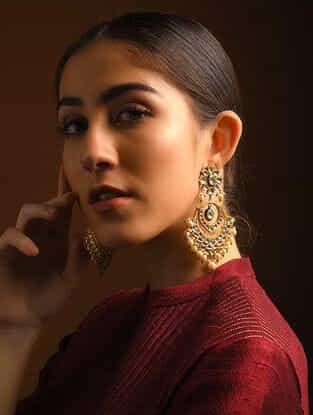 Red-Pink Enameled Diamond Polki Gold Earrings