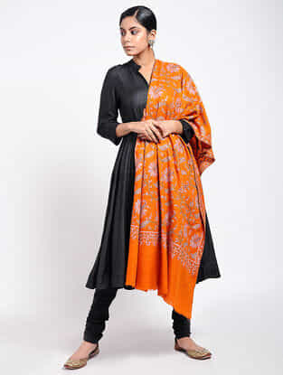 Orange-Pink Sozni-embroidered Pashmina Shawl
