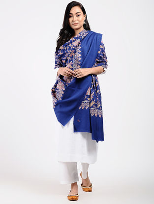 Blue Sozni-embroidered Pashmina Shawl