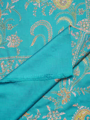Turquoise-Yellow Sozni-embroidered Pashmina Shawl