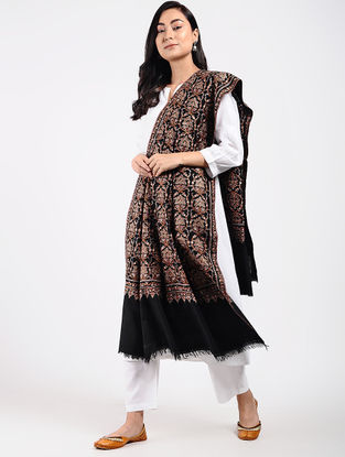 Black-Ivory Sozni-embroidered Pashmina Shawl