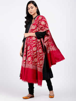 Red-Pink Sozni-embroidered Pashmina Shawl