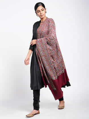 Red-Blue Sozni-embroidered Pashmina Shawl