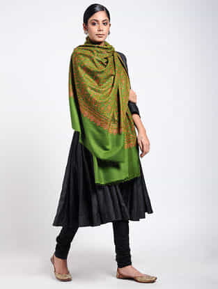 Green-Red Sozni-embroidered Pashmina Shawl