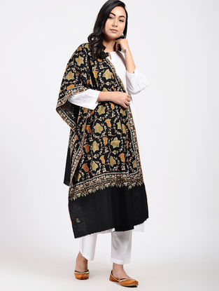Black-Green Sozni-embroidered Pashmina Shawl
