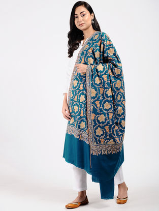 Blue-Yellow Sozni-embroidered Pashmina Shawl