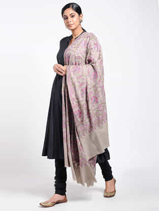 Ecru-Pink Sozni-embroidered Pashmina Shawl