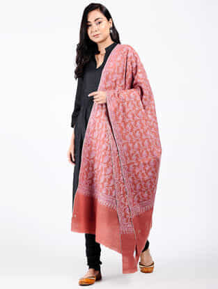 Pink-Ivory Sozni-embroidered Pashmina Shawl