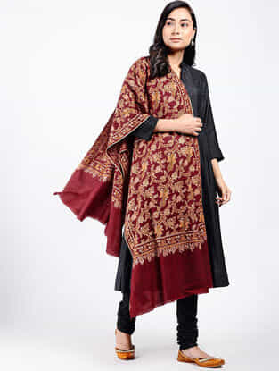 Red-Yellow Sozni-embroidered Pashmina Shawl