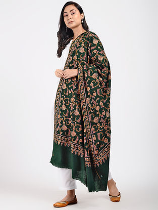 Green-Ivory Sozni-embroidered Pashmina Shawl