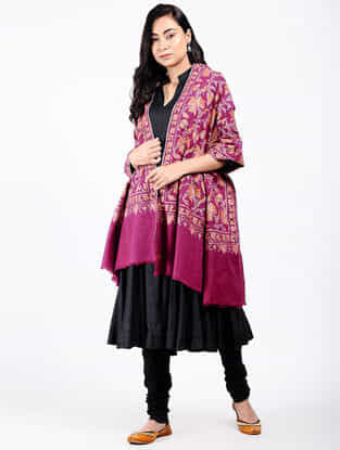 Pink-Yellow Sozni-embroidered Pashmina Shawl