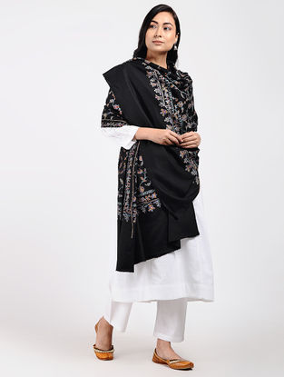 Black-Red Sozni-embroidered Pashmina Shawl