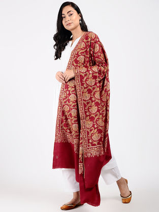 Red-Ivory Sozni-embroidered Pashmina Shawl