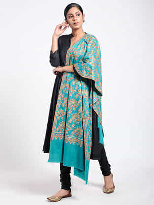 Blue-Green Sozni-embroidered Pashmina Shawl
