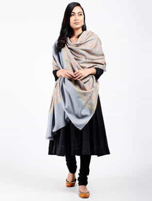 Grey-Green Sozni-embroidered Pashmina Shawl