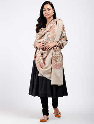 Ivory-Yellow Sozni-embroidered Pashmina Shawl