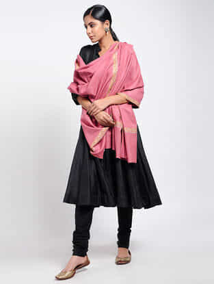 Pink Sozni-embroidered Pashmina Shawl