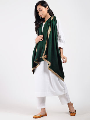 Green Sozni-embroidered Pashmina Shawl