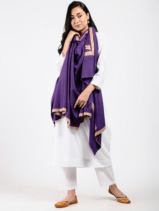 Purple Sozni-embroidered Pashmina Shawl