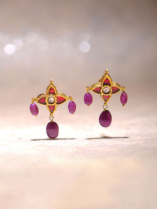 Ruby and Quartz Polki Gold Earrings