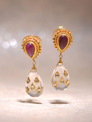 Ruby and Crystal Polki Gold Earrings