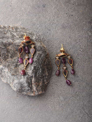 Red Enameled Polki Gold Earrings with Ruby and Quartz