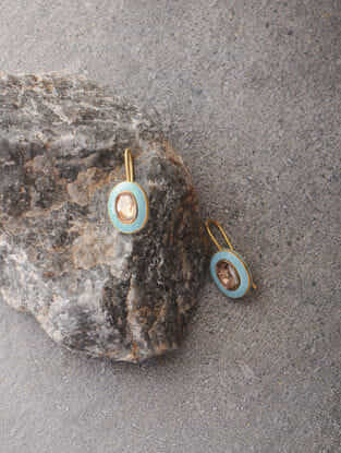 Blue Enameled Polki Gold Earrings